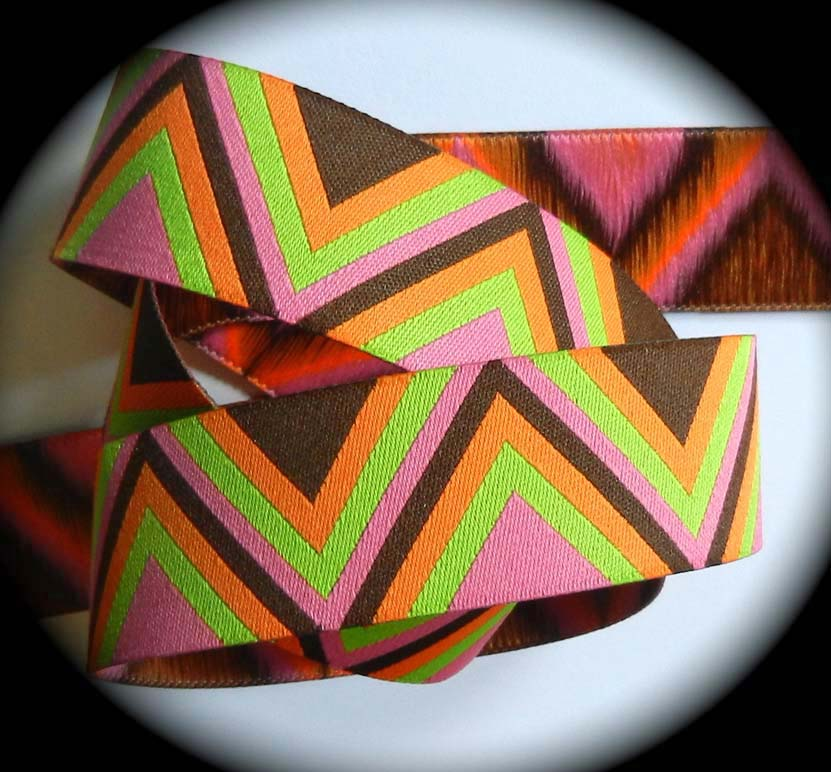 "Chevron - 1"" (3 yds) Orange, Pink, Brn, Lime"