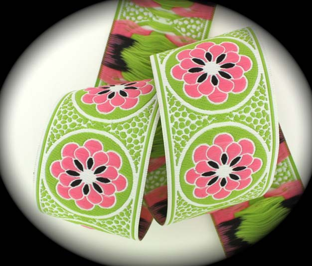 "Daisy Dot Flower2224 - 1 7/8"" x 1 1/2 yds White, Lime, Pink and"