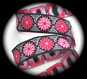 "DAISY DOT FLOWER6C - 1"" PINK/ LIGHT PINK/BLACK/WHITE (3yds)"