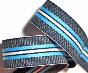 "STRIPES-12A - (3yds) 1 1/4"" Denim/Baby Blue/White -limited"
