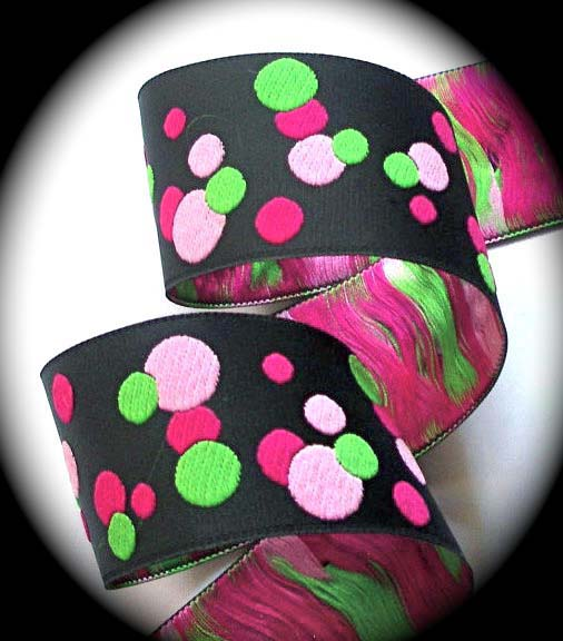 "DOTS2b 1 1/2"" (10 yds) BLACK/PINK/LIME"