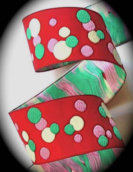 "*DOTS5a 1 1/2"" (10 yds) RED/PINK/TEAL/CREME DOT"