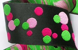 "**DOTS22 1 7/8"" (3 yds) BLK/PINK/LIME DOTS"