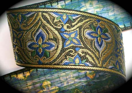 "WWJ405 2 3/8"" (per yd)Gold Metallic, Blue and Green"