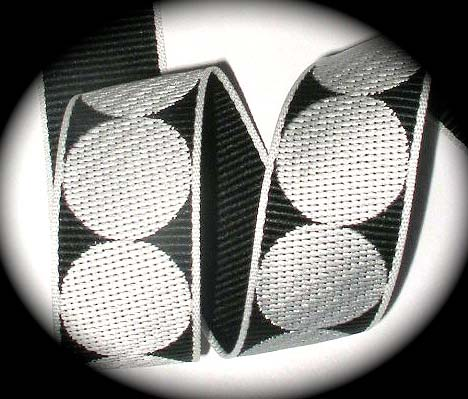 "GPD203 1"" (5 yds) BLACK/WHITE DOTS MEDIUM WEIGHT WOVEN"