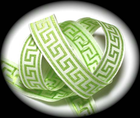 "GREEK KEY3 - 1"" LIME/WHITE (3 YDS)"