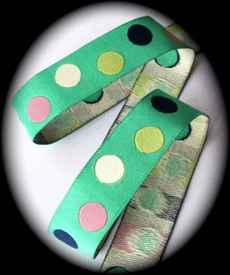 "DOTS 5/8"" (3 YDS) GREENBLUE/NAVY/CREME"