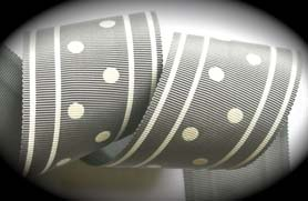 "GPD114 2"" (3 yds) GREY/OFF WHITE DOTS/STRIPES -CLOSEOUT!"