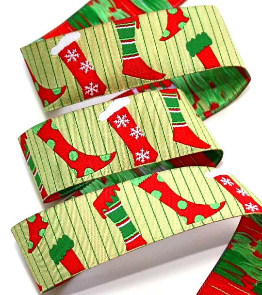 "CHRISTMAS OLD FASHIONED STOCKING - 1"" (2 1/4 yds)LIME/RED/WHITE-"