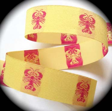 "LOBSTER7 (3 yds) 7/8"" Yellow W/Hot Pink Lobster"