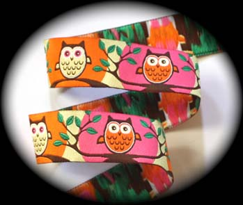 "Owl2 - 1"" Pink, Orange, Green Hoot Owls (3 yds)"