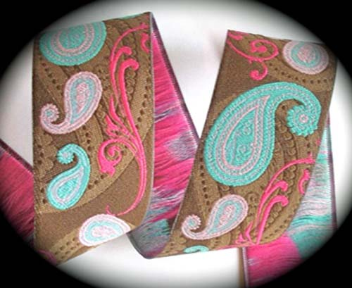 "PAISLEY8 1 1/2"" (3 YDS) BROWN/PINK/BLUE"