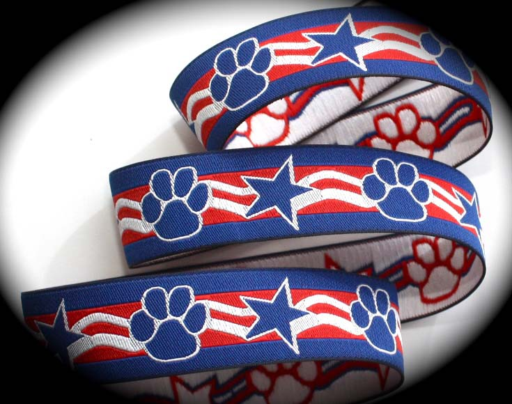"PAW PRINT/STAR - 1"" (3 yds) ROYAL/RED/WHITE"
