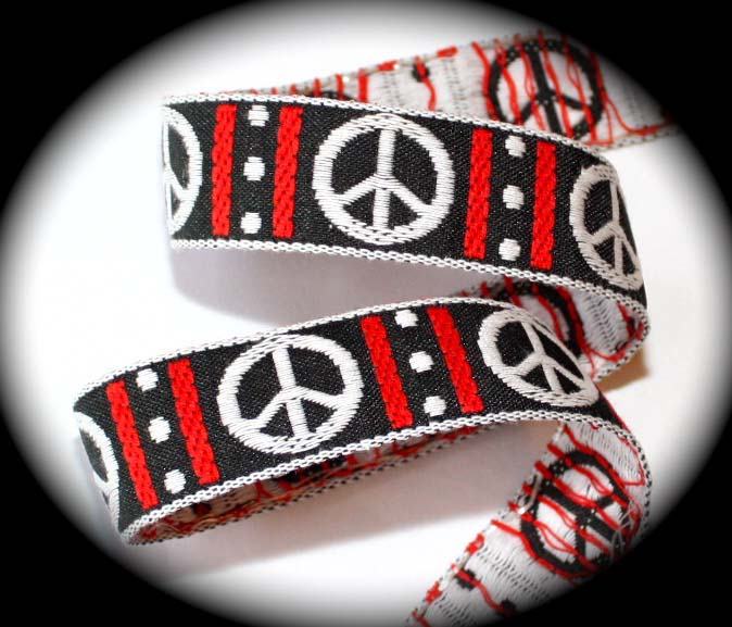 "PEACE SIGN2- 1"" (3 yds) BLACK/RED/WHITE"