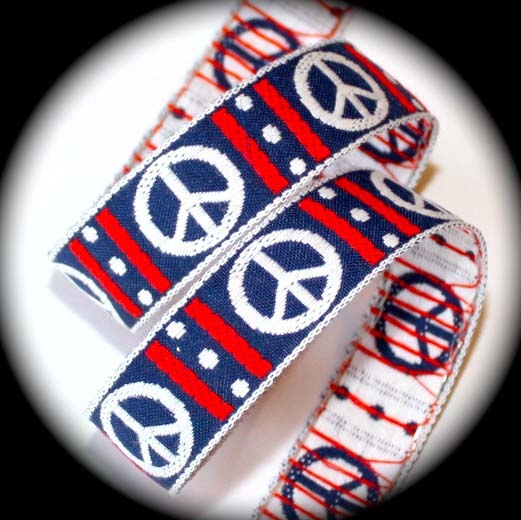 "PEACE SIGN3- 1"" (3 yds) NAVY/WHITE/RED"