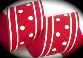 "GPD116 2"" (3 yds) RED/OFF WHITE DOTS/STRIPES"