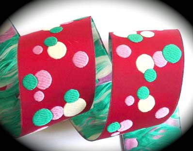 "**DOTS21 1 7/8"" (3 yds) RED/PINK/TEAL/CREME DOTS"