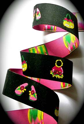 "Flip Flops and Purses3 (3 yds) 1"" Black, Pink, Yellow and Green"