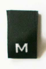 "SIZE TAG5 - BLACK W/WHITE -M- 500/PKG 1/2"" X 1 7/8""(FOLDED 3/4"""