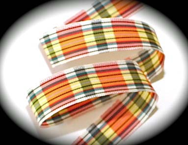 "SPRING TARTAN PLAID - 5/8"" YEL/ORANGE/RED/WHITE (3 YDS)"