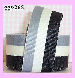 ggs265b Black/Bone/Gray Striped (5yds) 7/8""