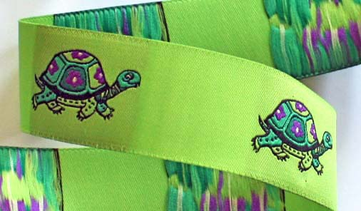 "TURTLE1 (3 yds) 1 1/8"" LIME  FLOWER TURTLE DAMASK SPECIAL!"