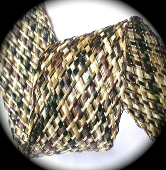 "WAXEDRAFFIA 2 1/2"" TAN/PLUM/MULTI COLOR WAXED RAFFIA WEBBING"