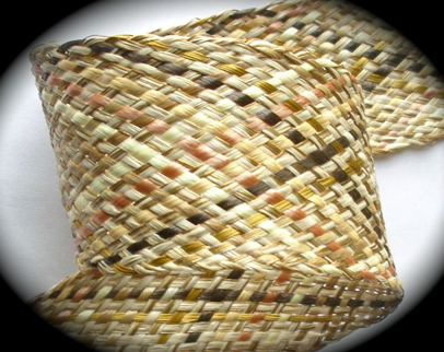 "WAXEDRAFFIA  2 1/2"" Tan,Coral and Brown Raffia Webbing  (per yd)"