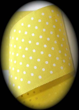 "GPD8570  3"" (1yd) RAY/COT YELLOW/WHITE SWISS DOT RIBBON - LIMI"