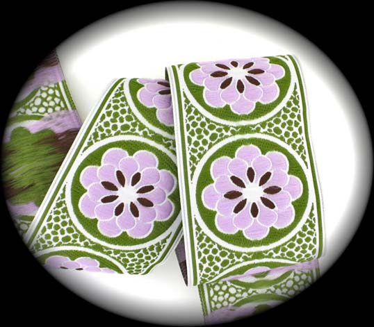 "Daisy Dot Flower2227 - 1 7/8"" x 1 1/2 yds White, Olive, Lilac"